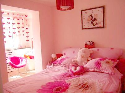 粉色乳胶漆卧室效果图欧式
