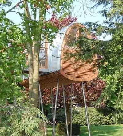 竹子建造曲线形树屋设计