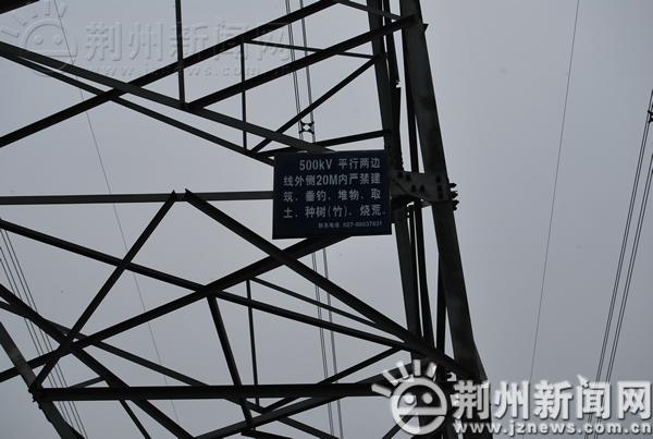 记者来到了支撑左边高压线的一个铁塔旁