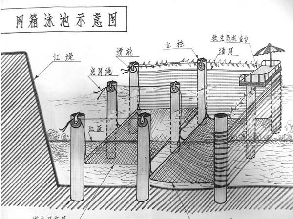 为解决宝塔湾野泳之患 六旬老人手绘江中泳池图
