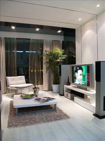 复式装修设计:电视背景墙设计-耗资25万黑白主调复式家 挑高设计确高清图片