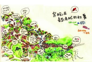 图画手绘旅游路线图