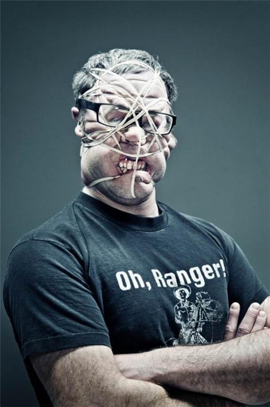 美摄影师拍创意照用绳子扭曲人脸(组图)