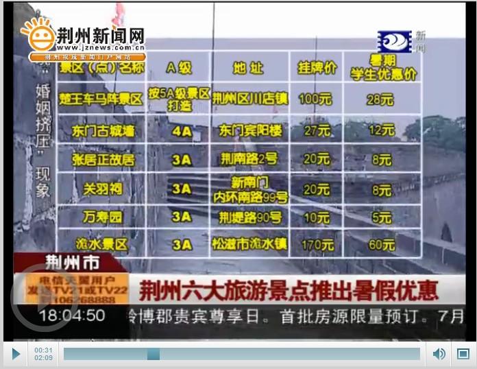 荆州旅游景点图片_荆州六大旅游景点推出暑期优惠最低优惠票价