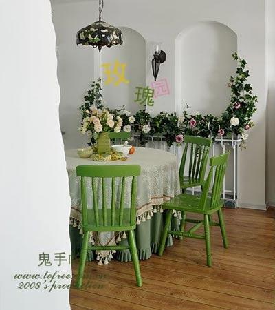 田园风格小户型设计图:餐厅及壁龛-田园风格小户型 绿色打造清凉居室