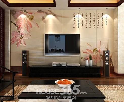 瓷砖电视墙装修效果图瓷砖打造古典效果-电视墙装修效果 小户型也美
