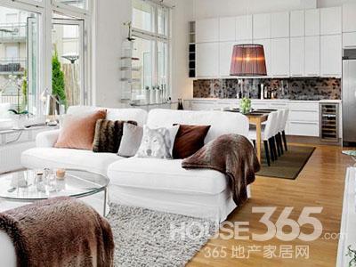 白色地板装修效果图 纯白舒适的家图片
