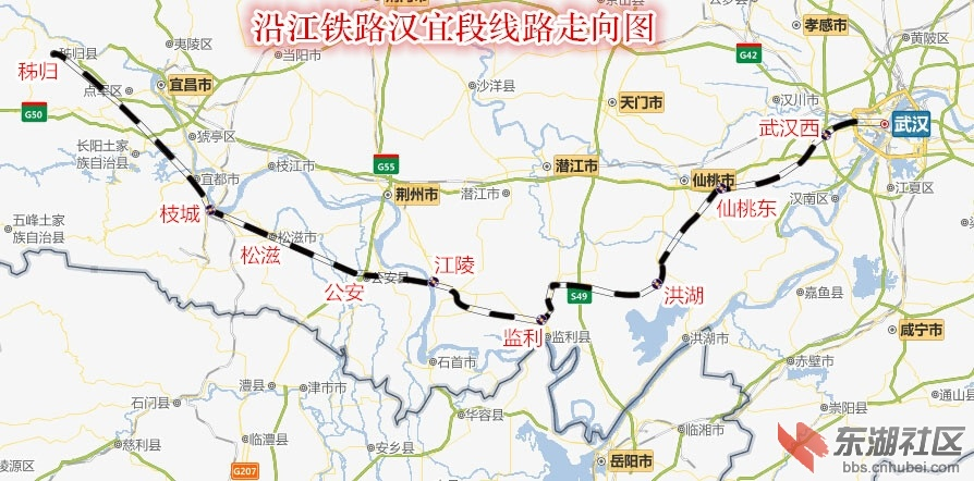 网传沿江铁路线路图 经过松滋公安石首监利洪湖 ...