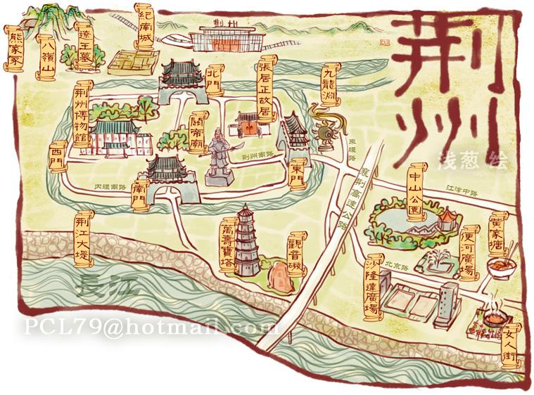 荆州手绘旅游指南即将出炉 地图以关公义园为核心