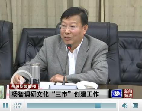 """杨智调研文化""""三市""""创建工作 要求打造城市名片"""