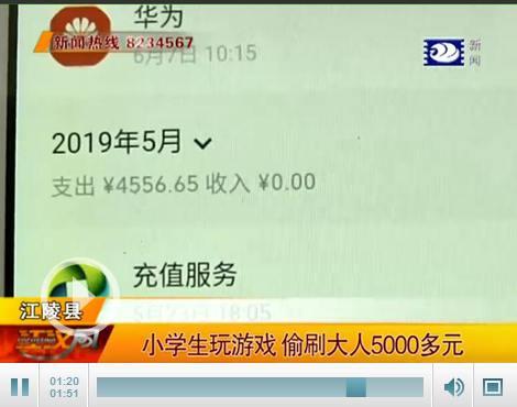 江陵一10岁小学生玩手机游戏 偷刷大人5000多元