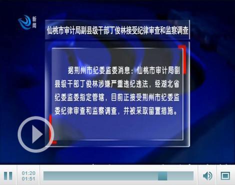 仙桃市审计局副县级干部丁俊林接受纪律审查